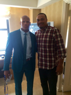 Plantation coach Steve Davis (right) poses with Steelers 1st round pick Ryan Shazier hours before the NFL Draft Thursday.