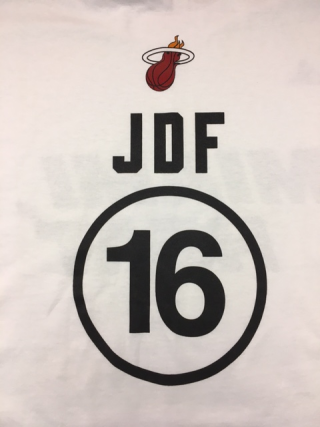 Back of Jose Fernandez shooting shirts